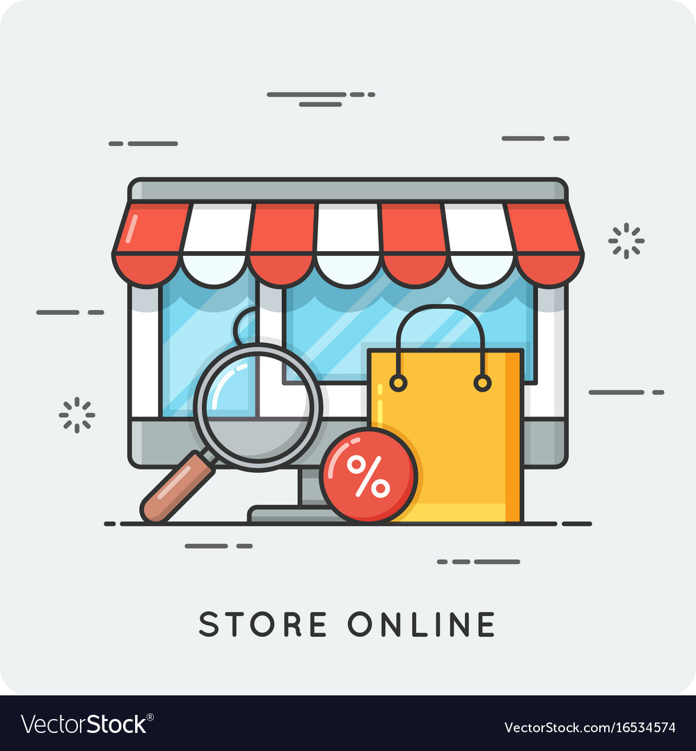 Store online flat line art style concept