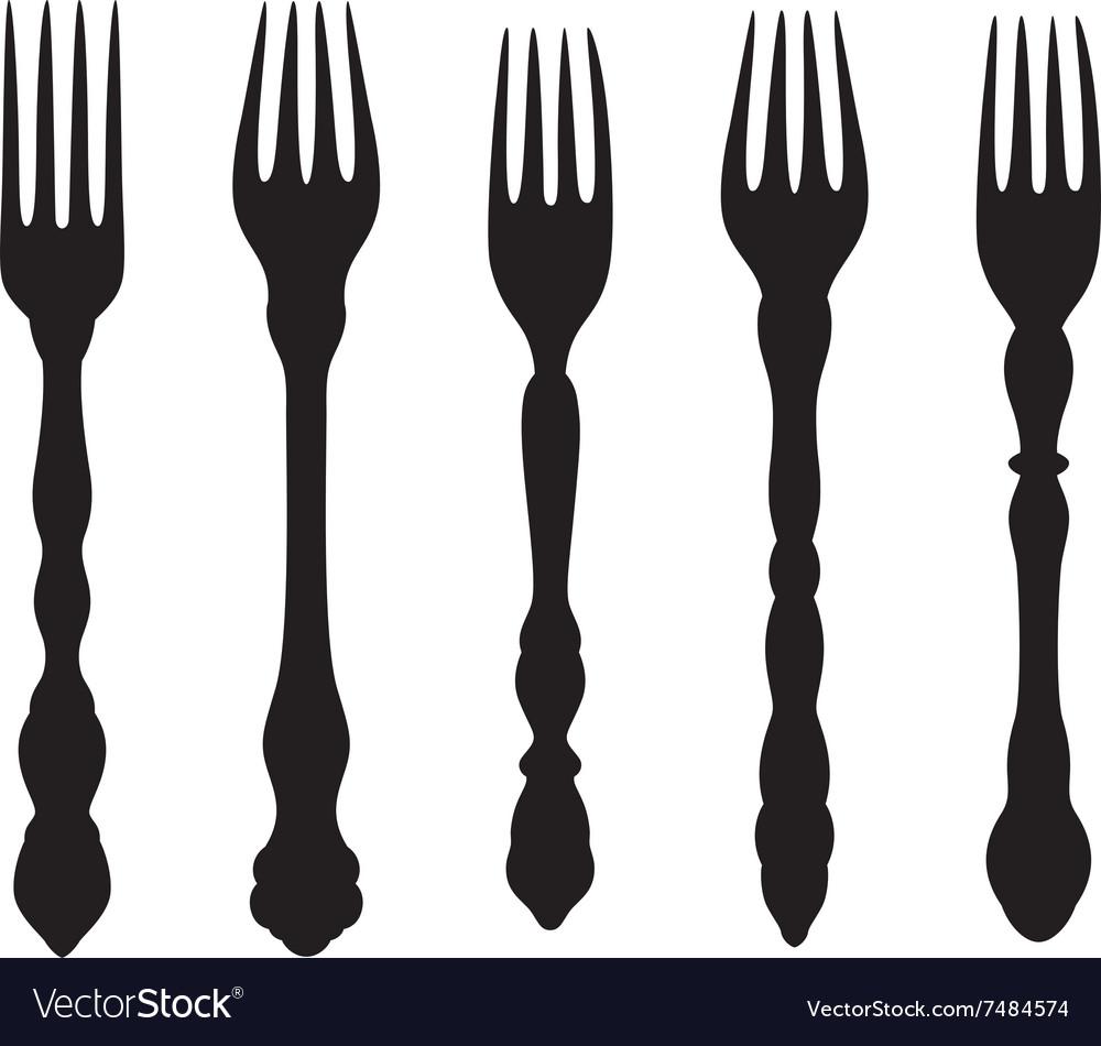 Vintage forks silhouettes set