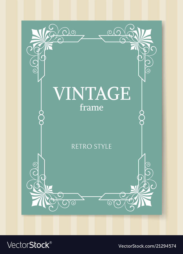 Vintage frame retro style white border isolated vector image
