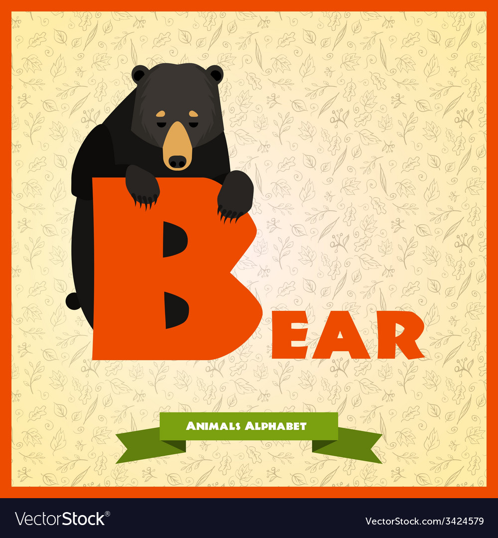 B letter with black bear behind
