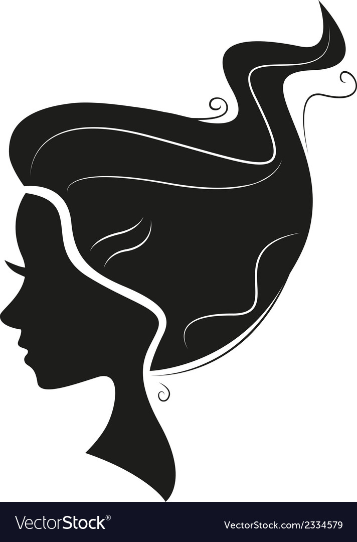 Beautiful black hair silhouette isolated on white