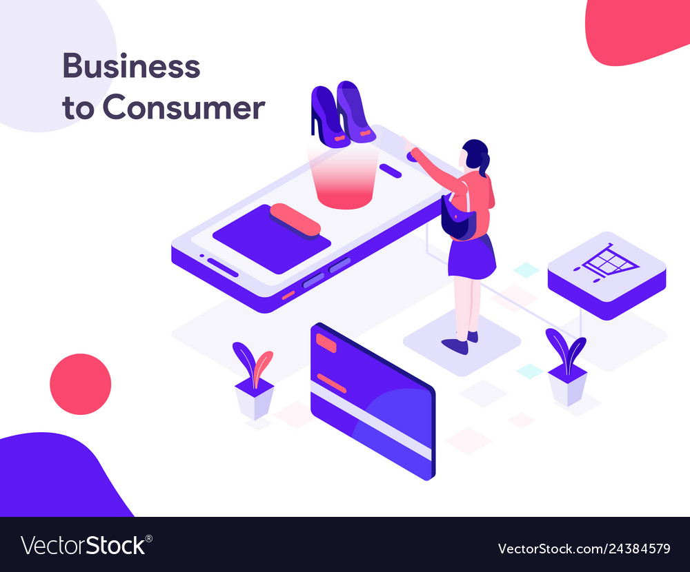 Business to consumer isometric modern flat