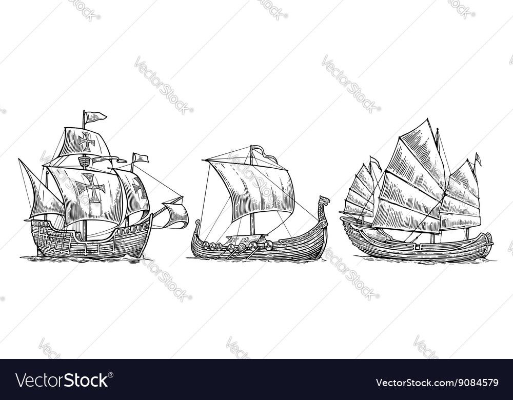 Caravel drakkar junk Set sailing ships floating