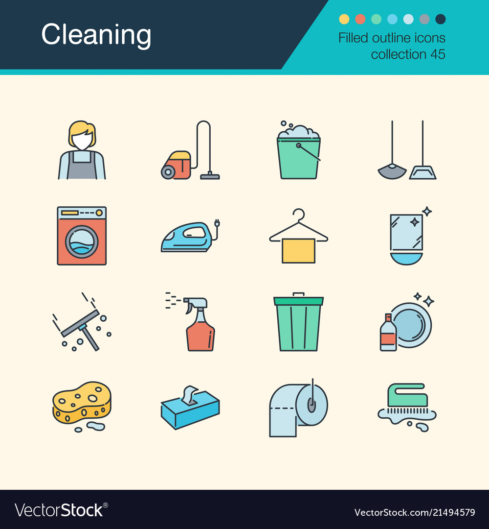 Cleaning icons filled outline design collectiont