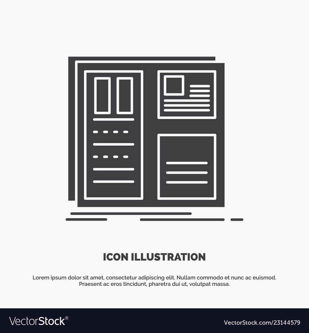 design grid interface layout ui icon glyph gray vector image