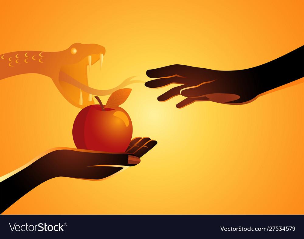 Eve offering apple to adam