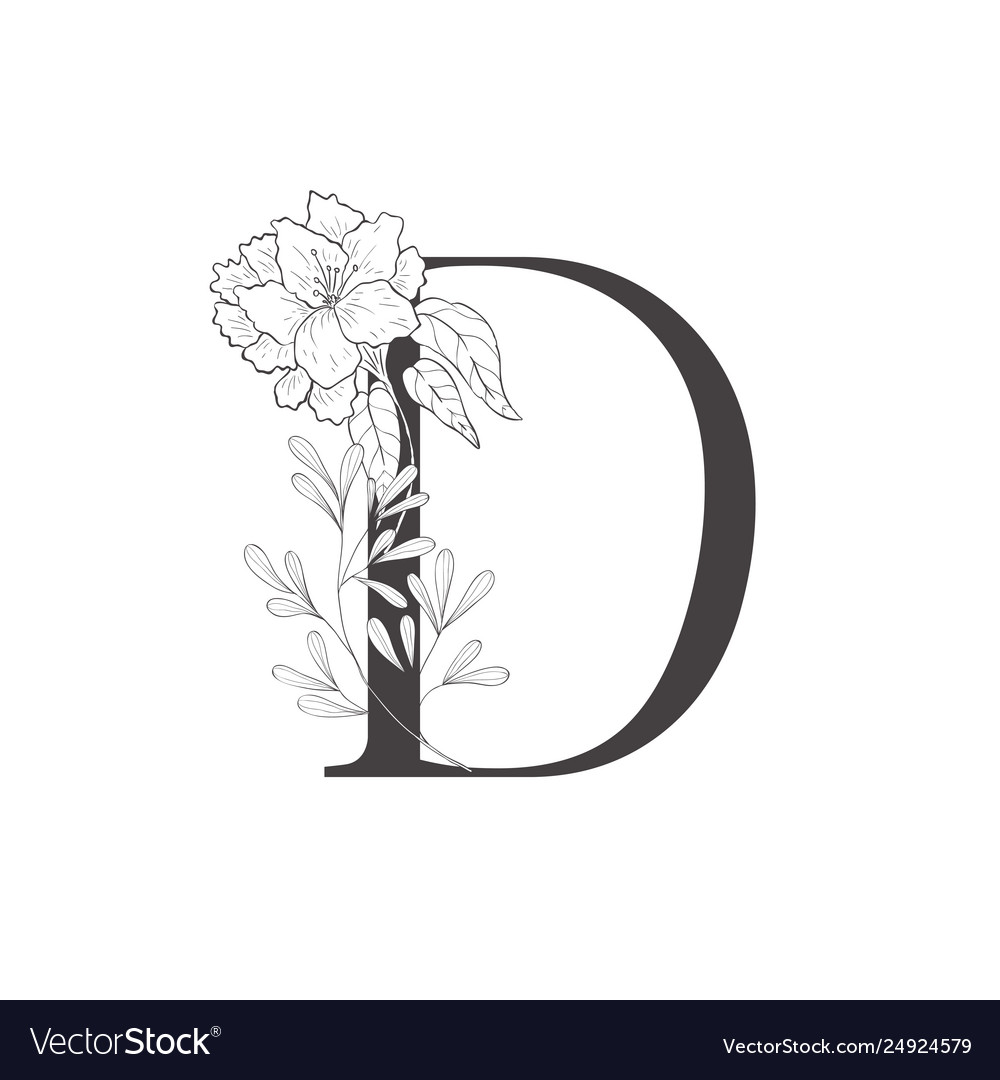 Floral botanical alphabet letter with plants and