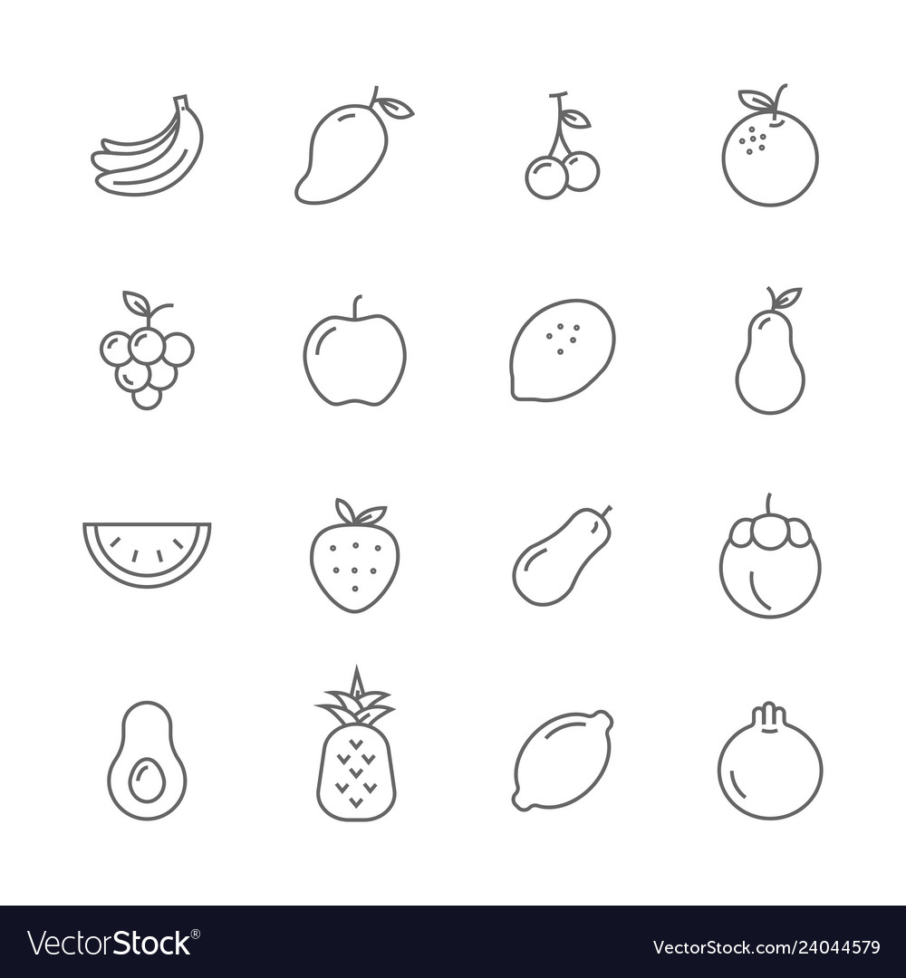 Fruits lines icons set