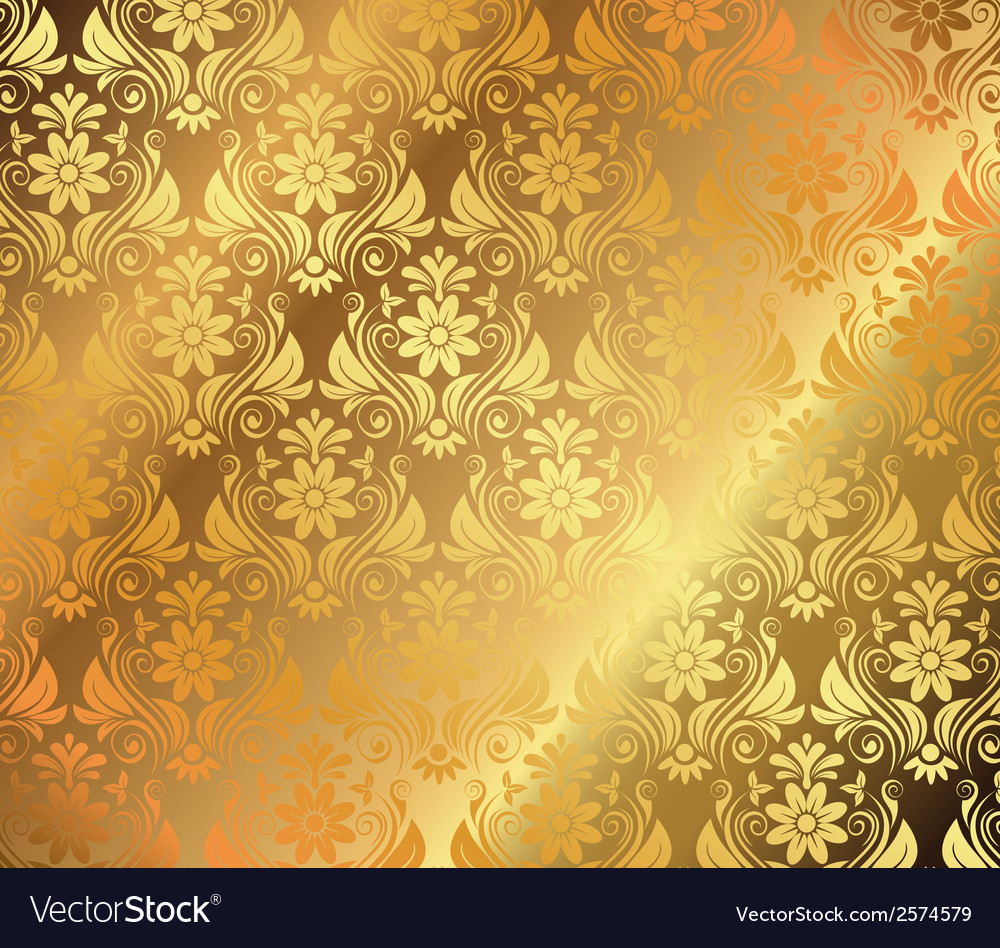 golden background with floral ornaments royalty free vector