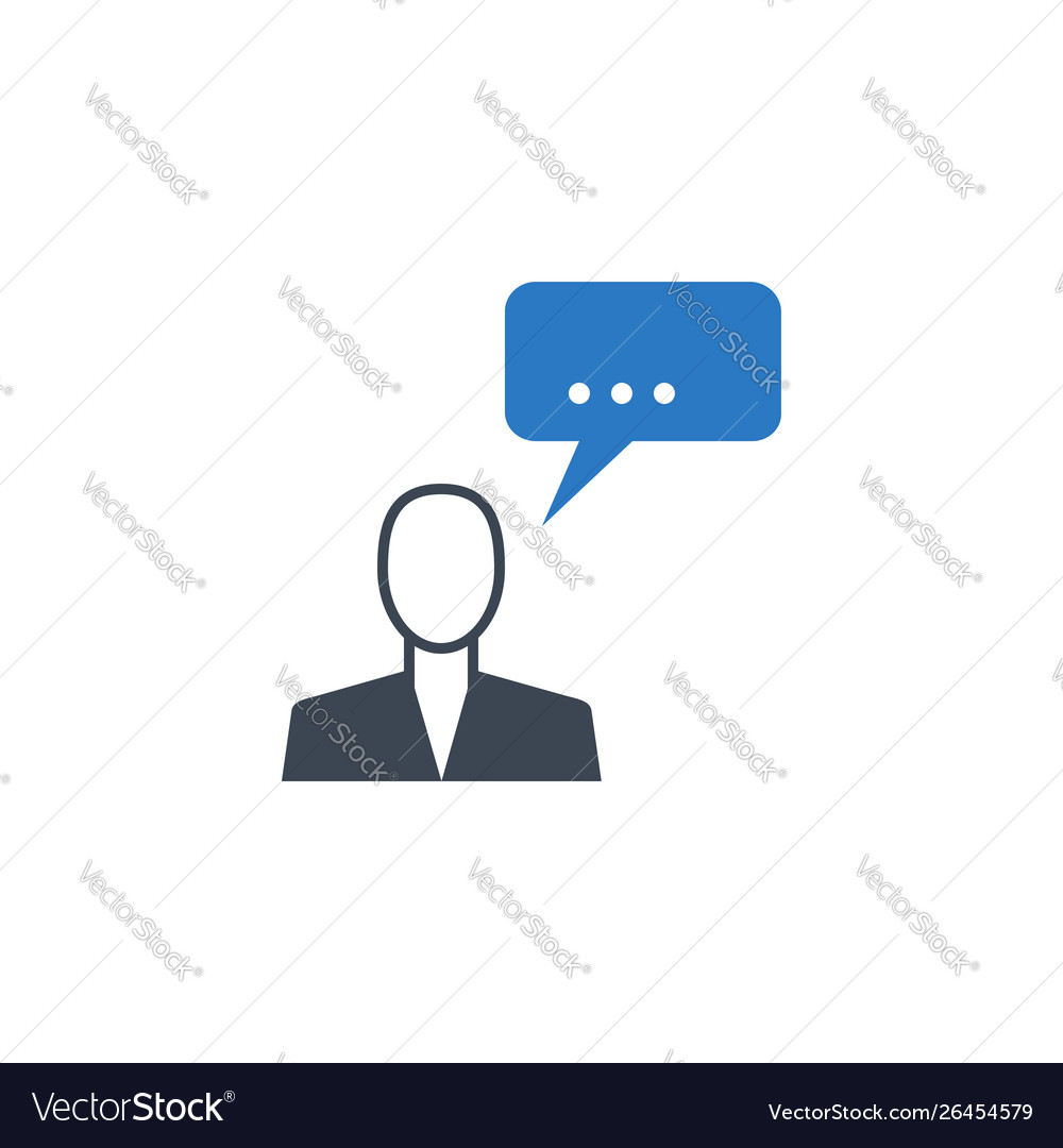 Man talking related glyph icon
