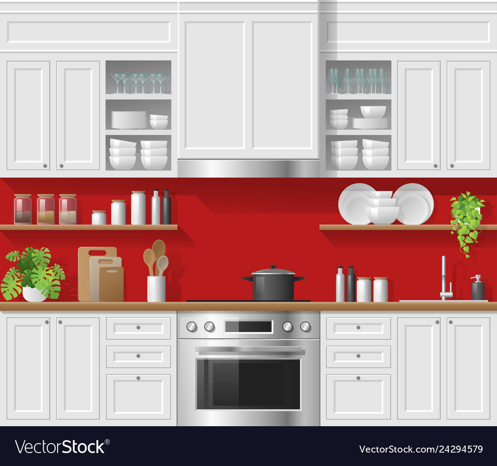 Modern White Rustic Kitchen With Red Background Vector Image