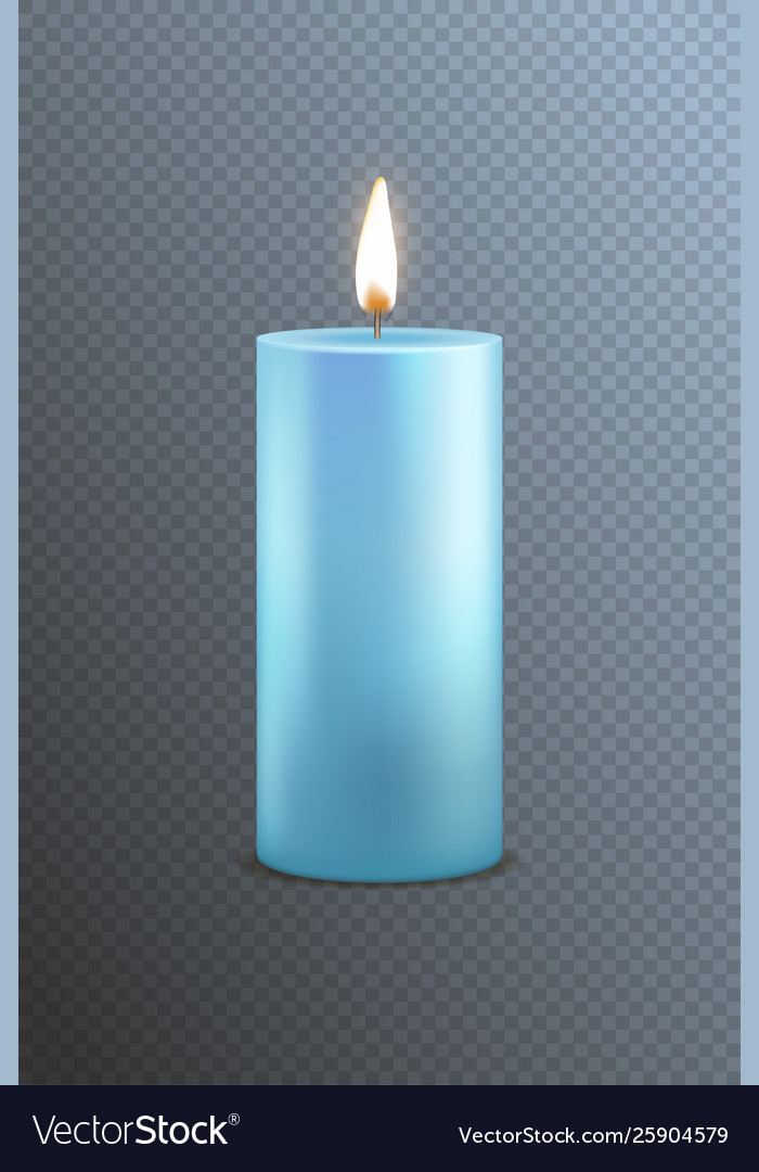 Realistic detailed 3d blue candle on a transparent