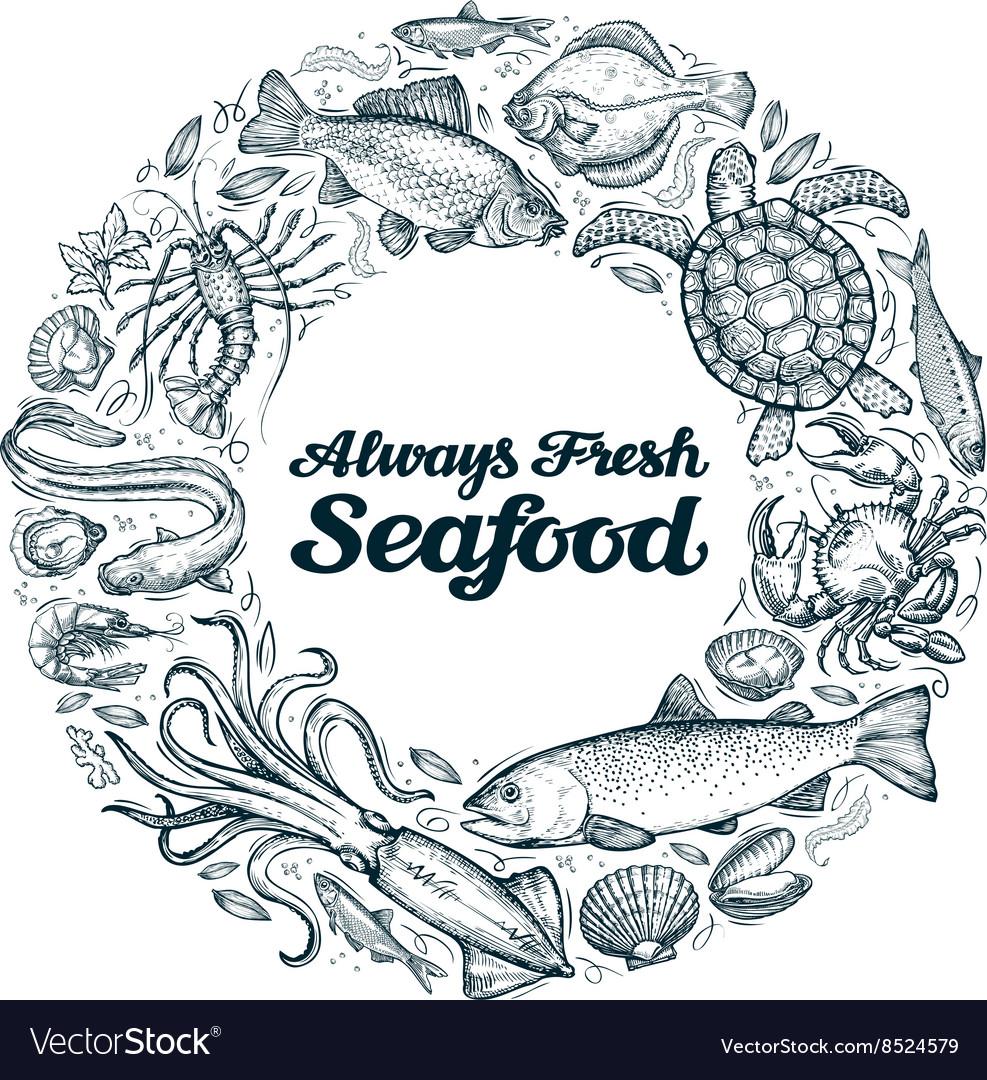 Seafood restaurant menu or cafe design template vector image