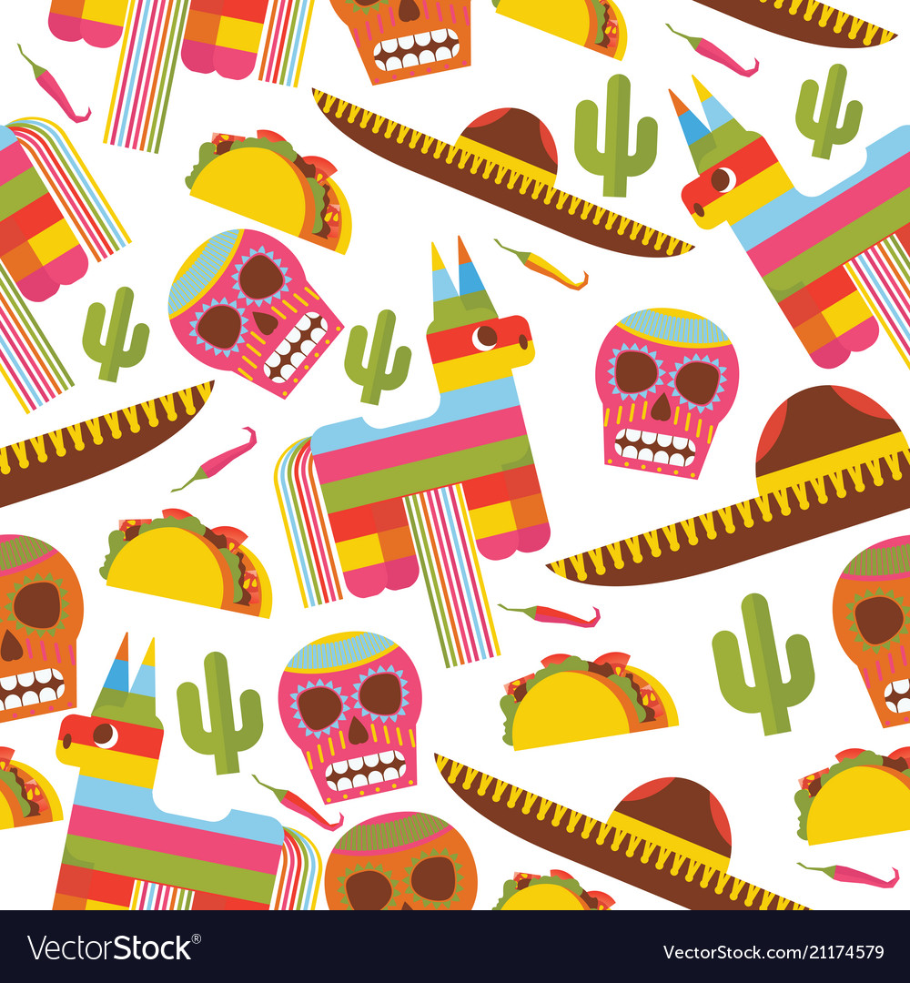 Seamless pattern with pinata sombrero hat scull Vector Image d5686b0f584