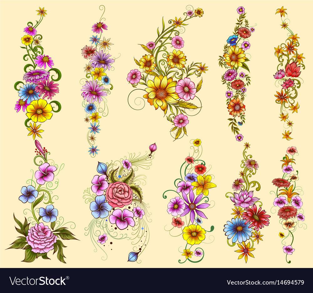 Tattoo art design of floal flower collection