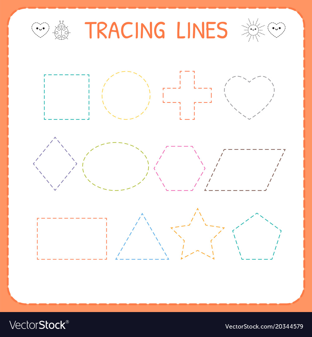 Trace line worksheet for kids working pages for