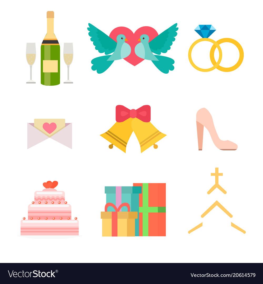 Wedding invitation celebration set flat