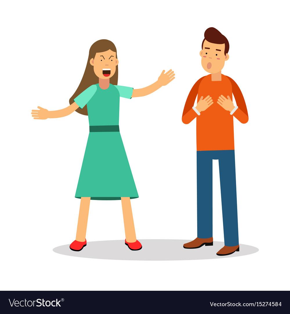 Aggressive young woman woman shouting at man