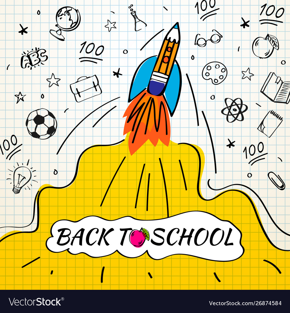 Back to school poster with rocket and doodles on