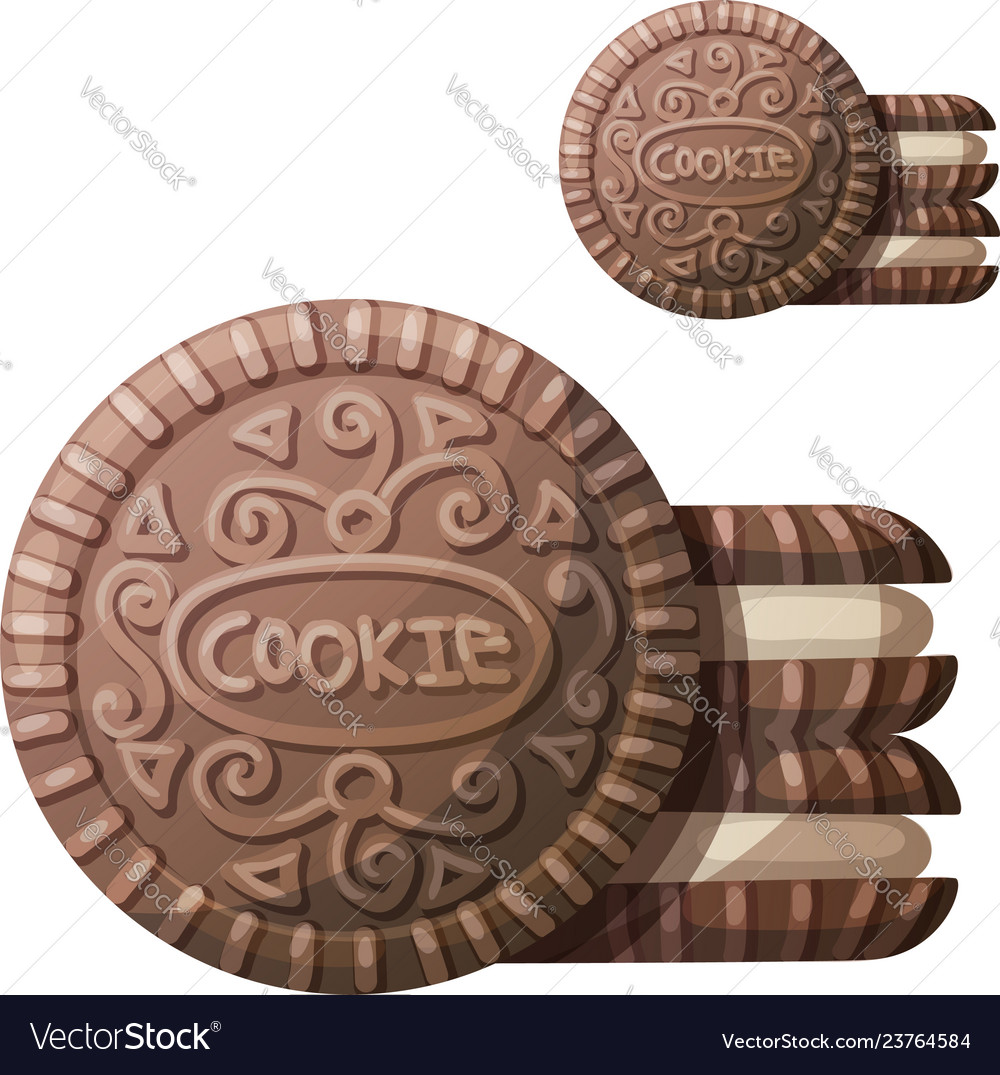 Chocolate cookie 2 icon isolated