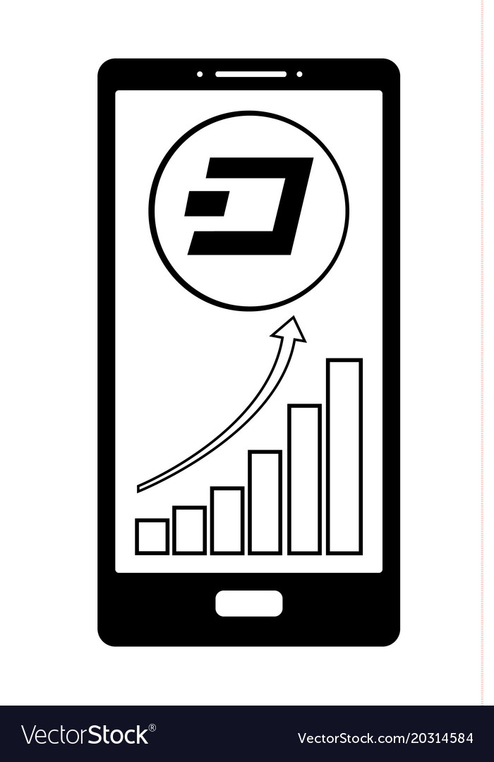 Coin Dash With Growth Chart On The Phone Screen Vector Image