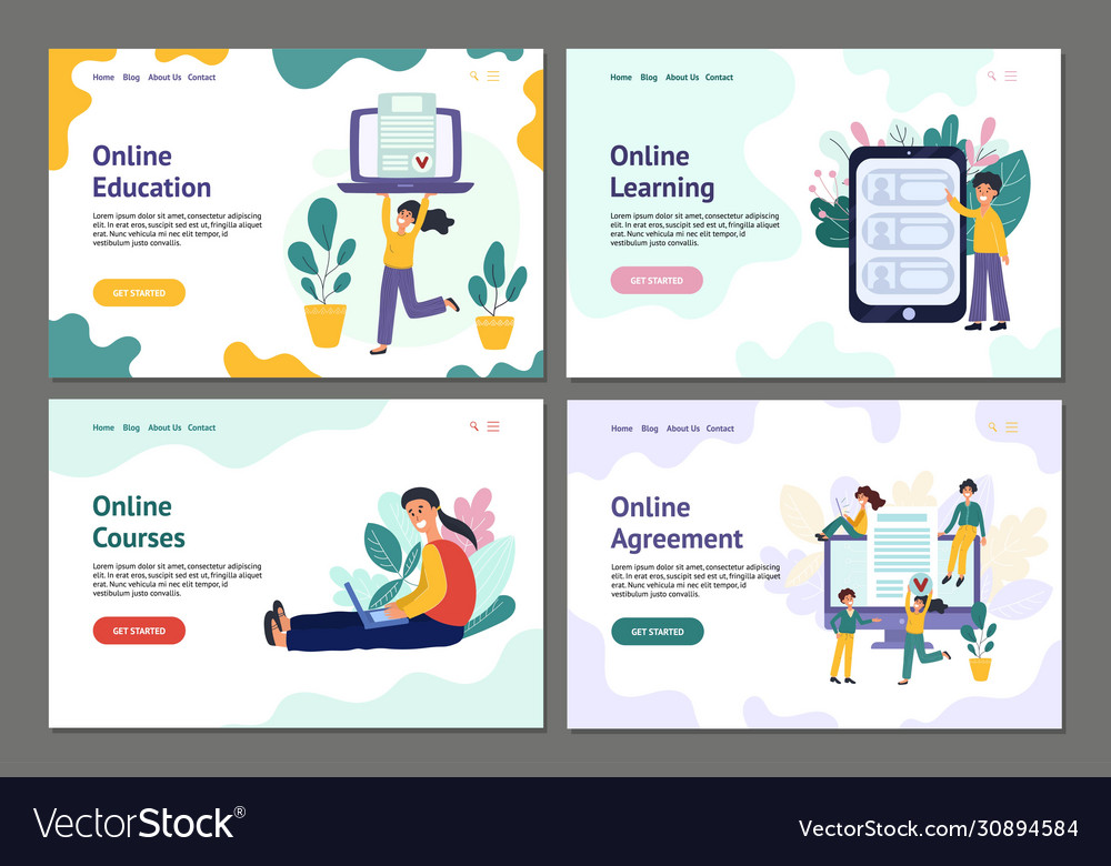 Collection landing page banners with trendy
