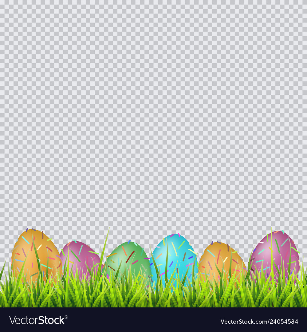 Colorful easter eggs on a grass on transparent