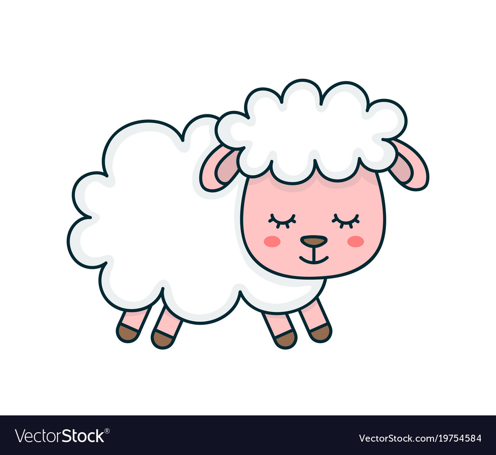 cute smilng funny sleeping sweet sheep royalty free vector rh vectorstock com sheep vector silhouette sheep vector art