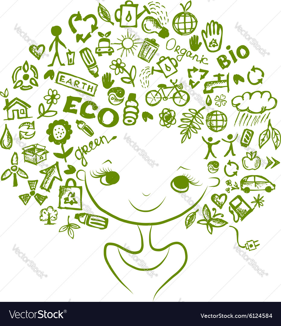 Ecology concept female head for your design