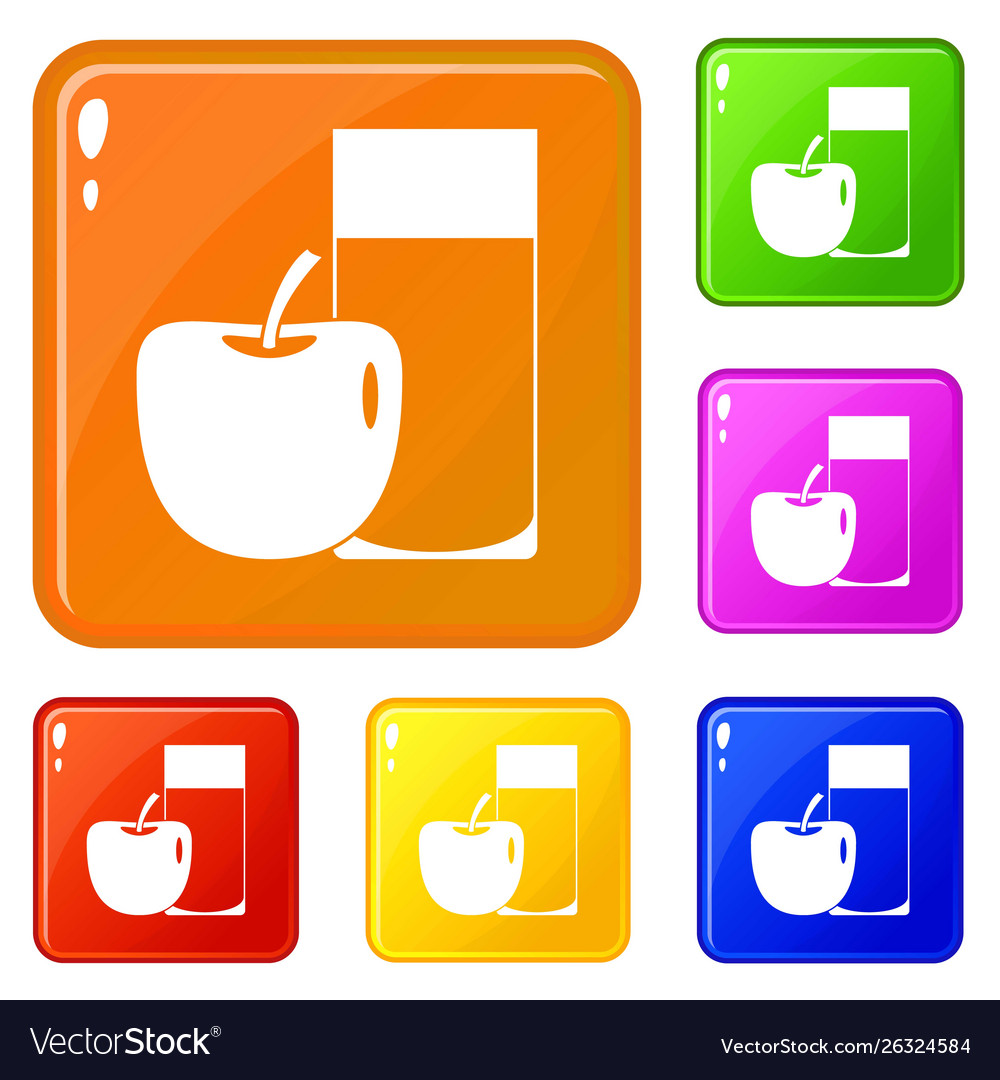 Glass drink and apple icons set color