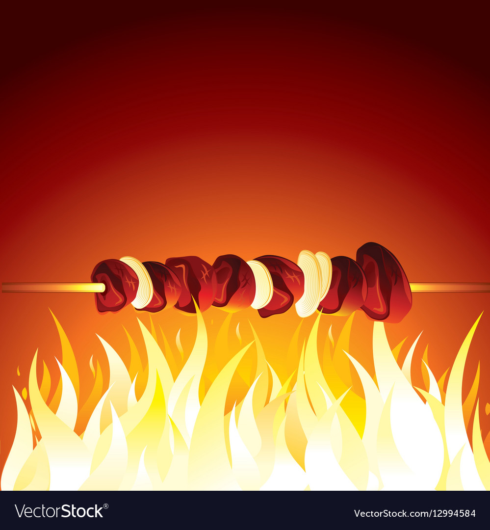Grill Shish Kebab Prepared on Hot Flame