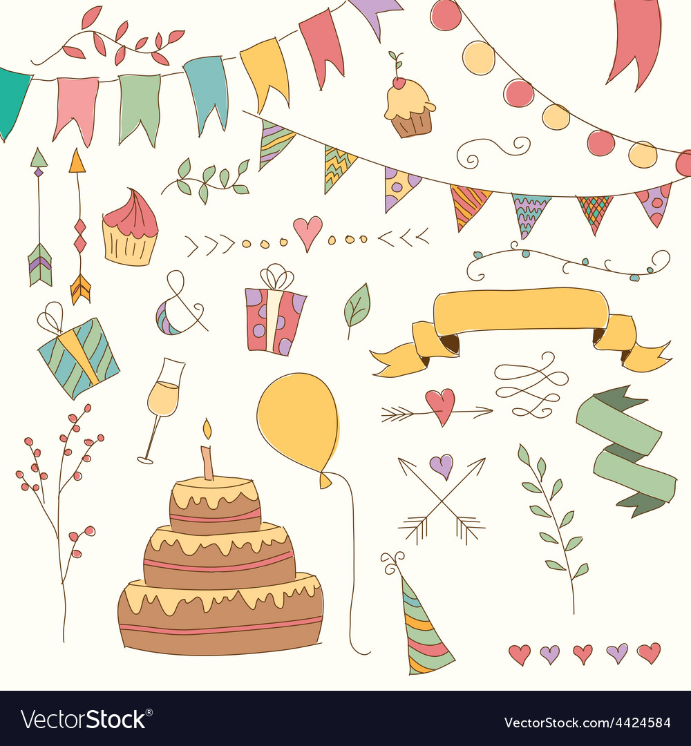 Hand drawn vintage birthday design elements