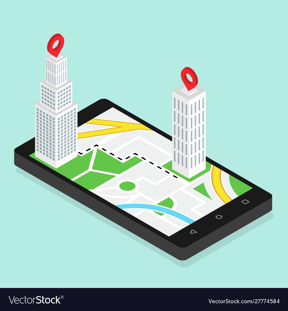 Isometric city buildings with map gps navigation
