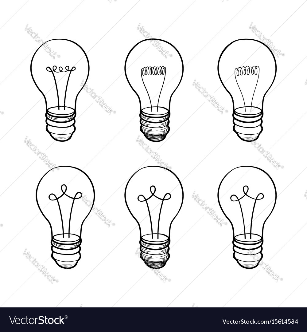 Lamp bulb collection light icon set hand drawn