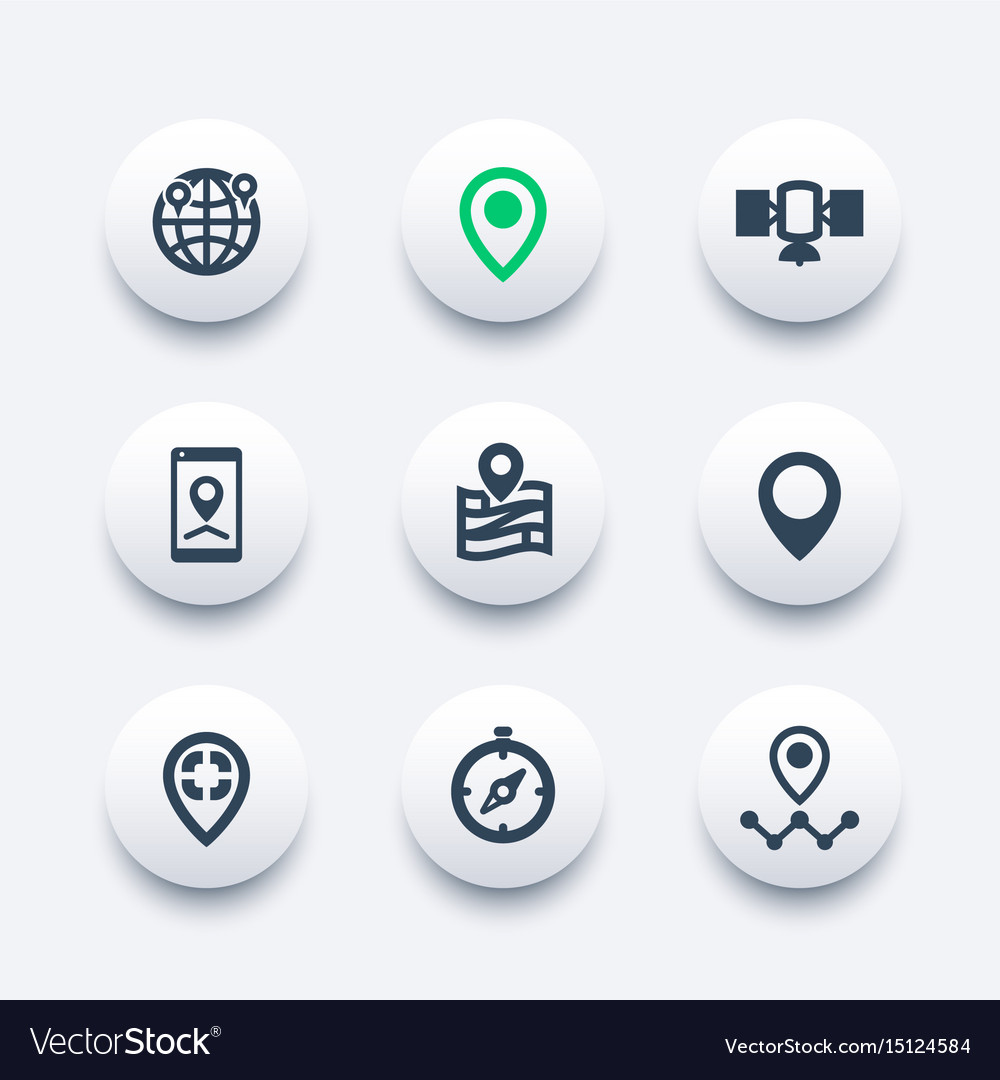 Navigation icons set location marks map pointers