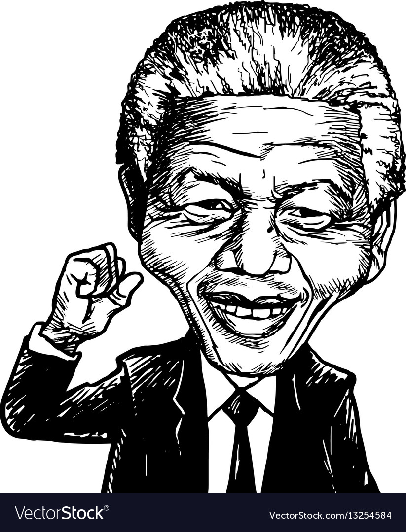 Nelson Mandela Cartoon Caricature Royalty Free Vector Image