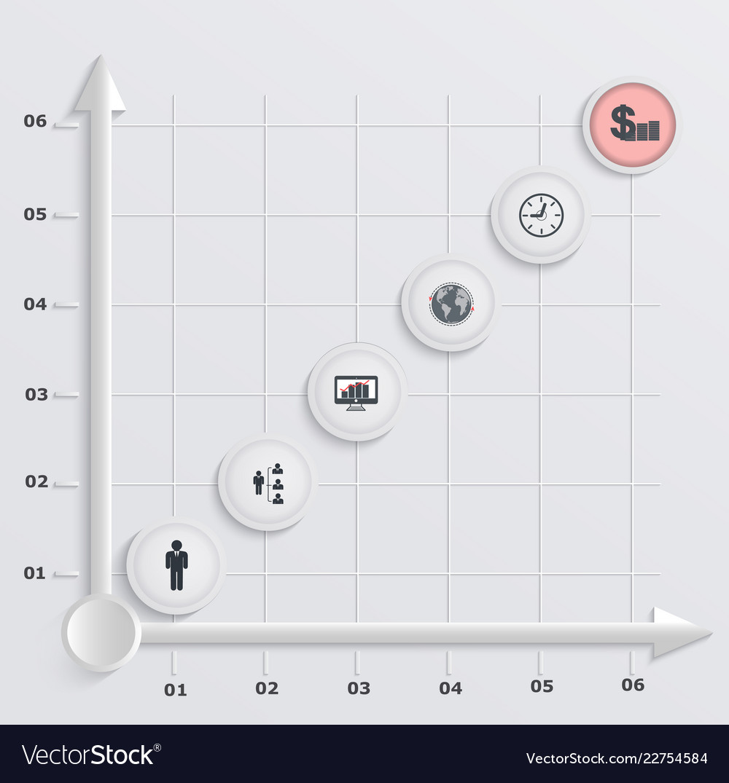 Paper stepwise economic graph infographics