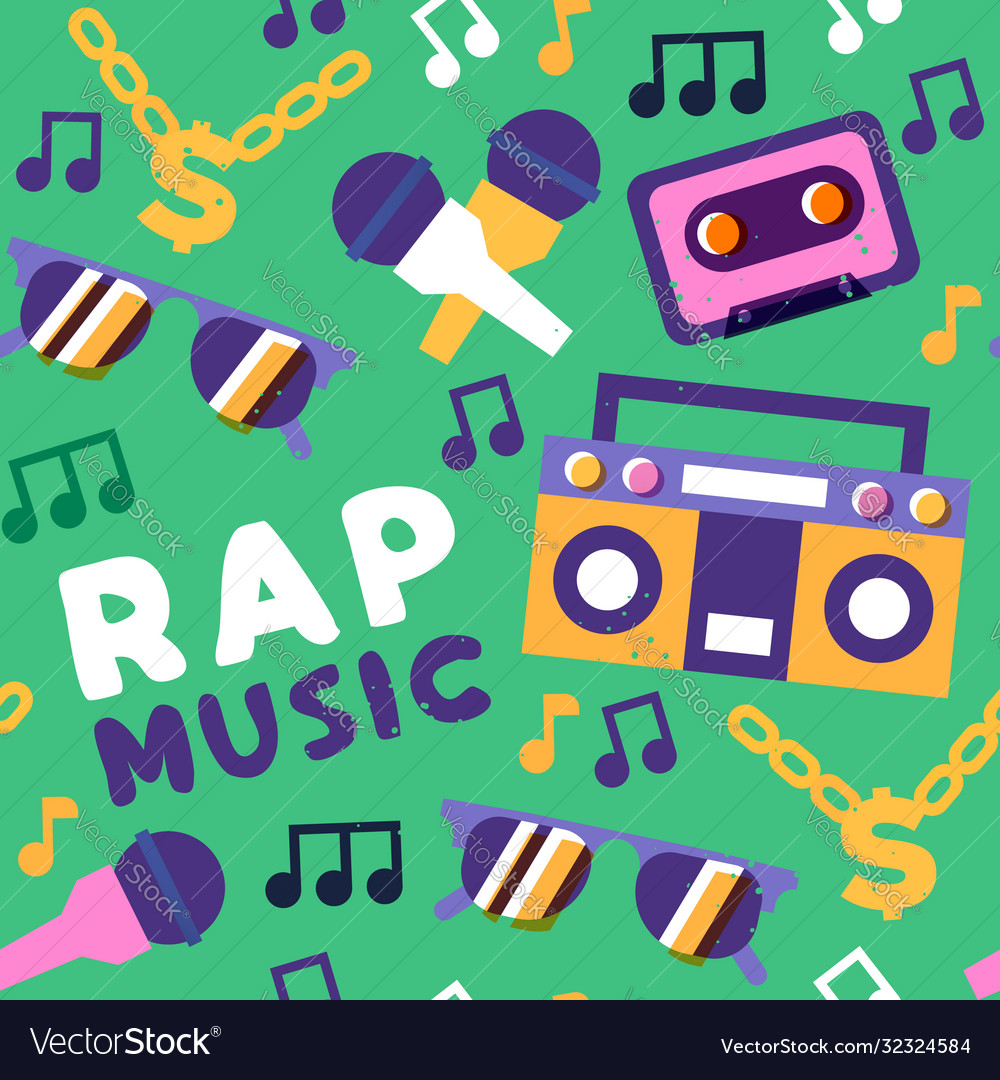 Rap music seamless pattern urban street art icon