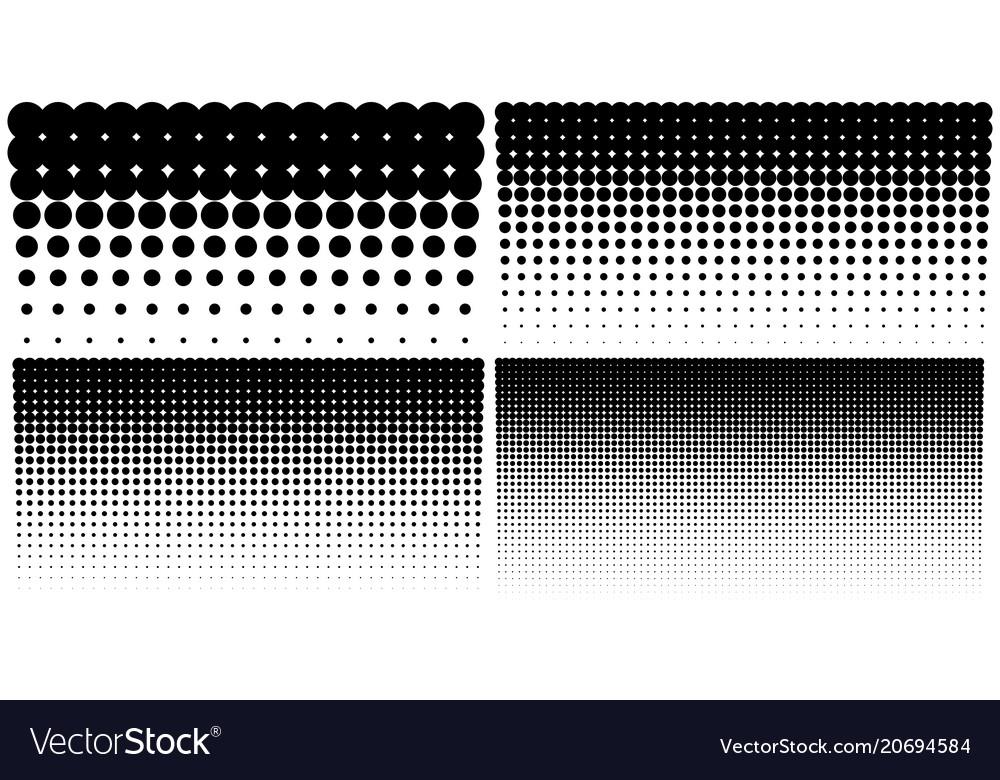 Set of vertical gradient halftone dots backgrounds