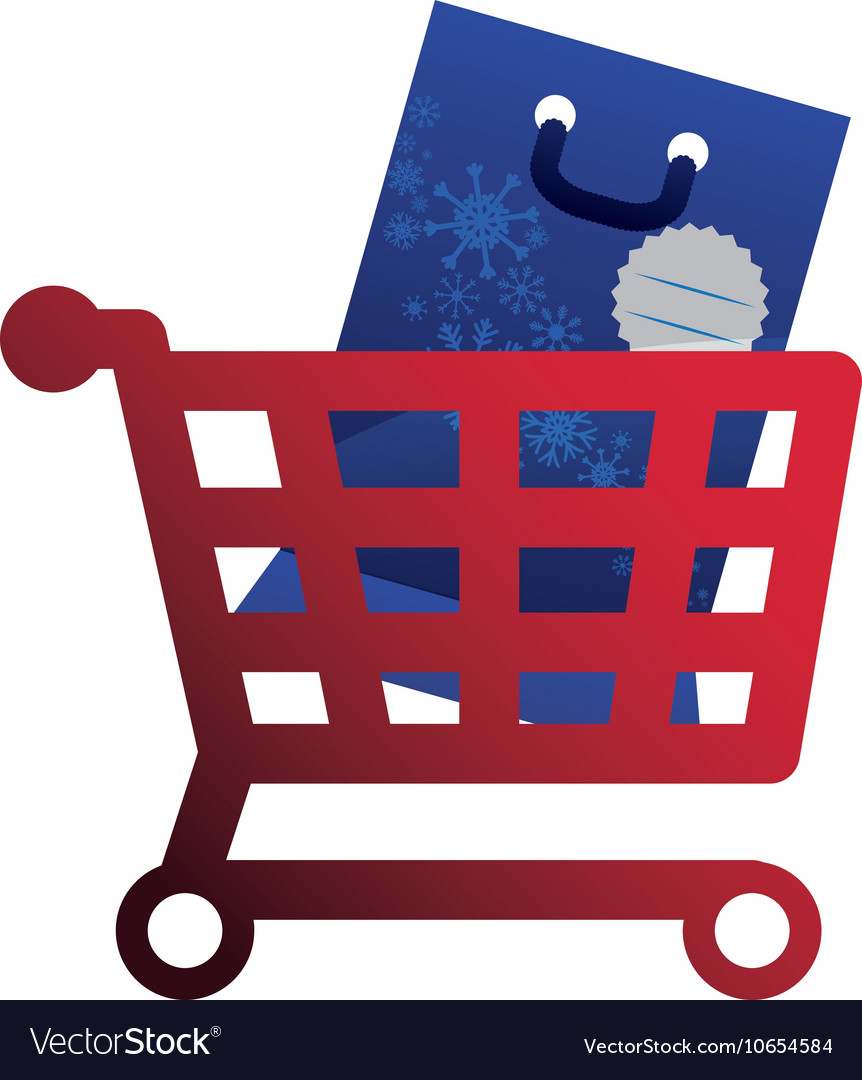 Shopping cart and bag of Merry Christmas design