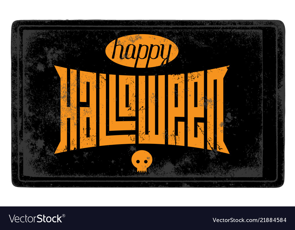 Vintage happy halloween card with skull and