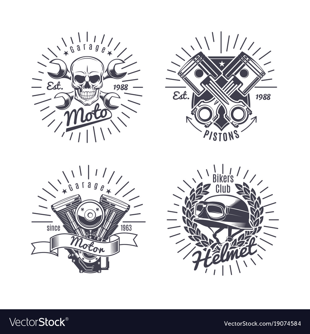 Vintage monochrome motorcycle emblems set