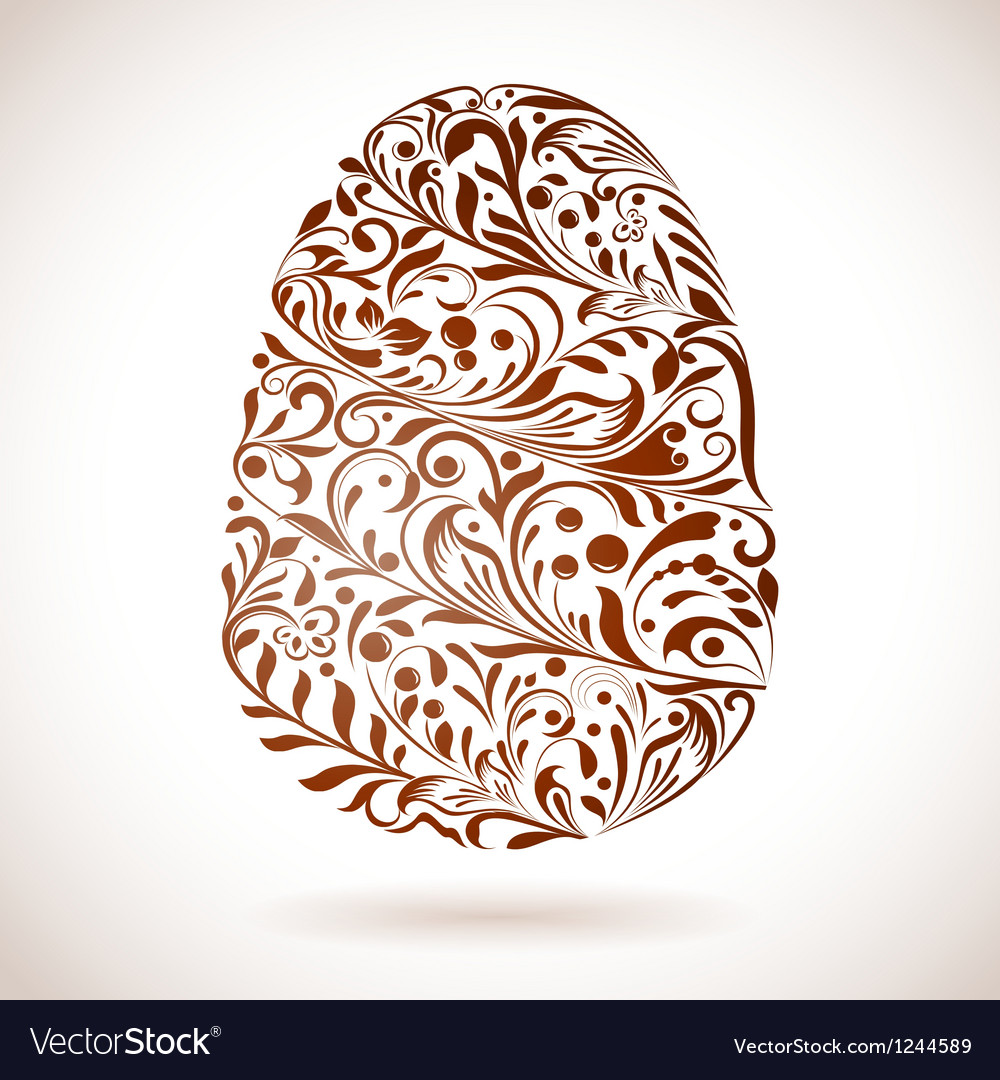 Abstract Easter egg floral ornament vector image