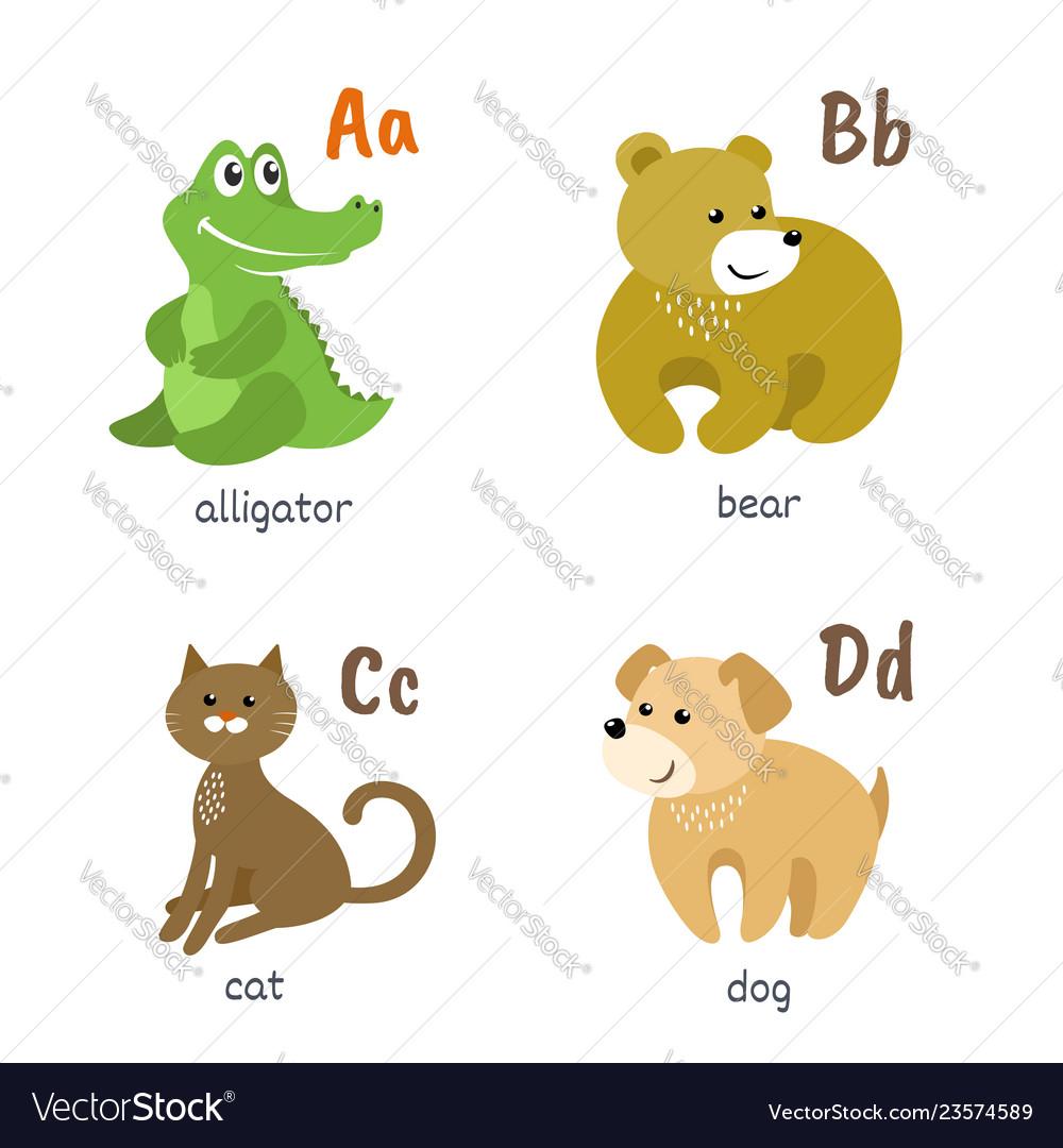 Animal alphabet with alligator bear cat dog