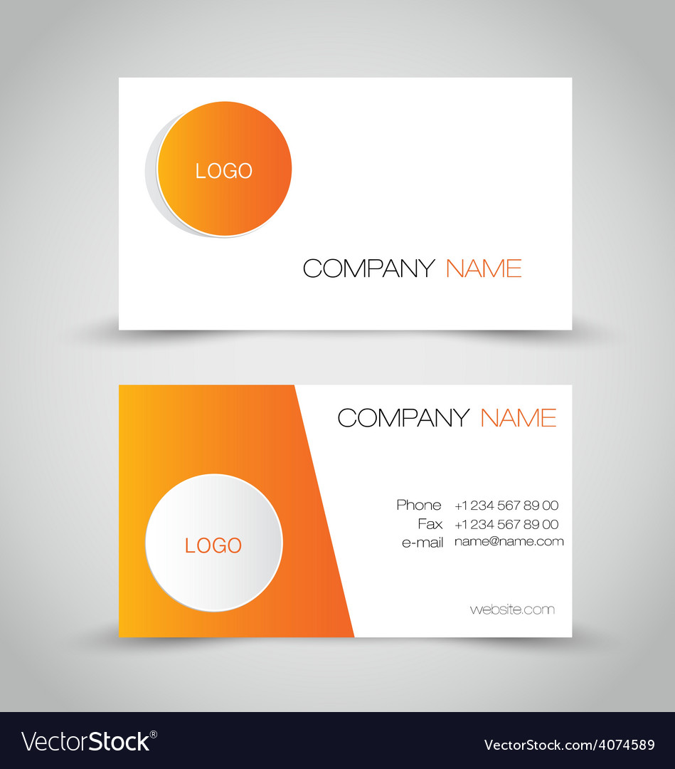 Business card set template Orange and white color Vector Image