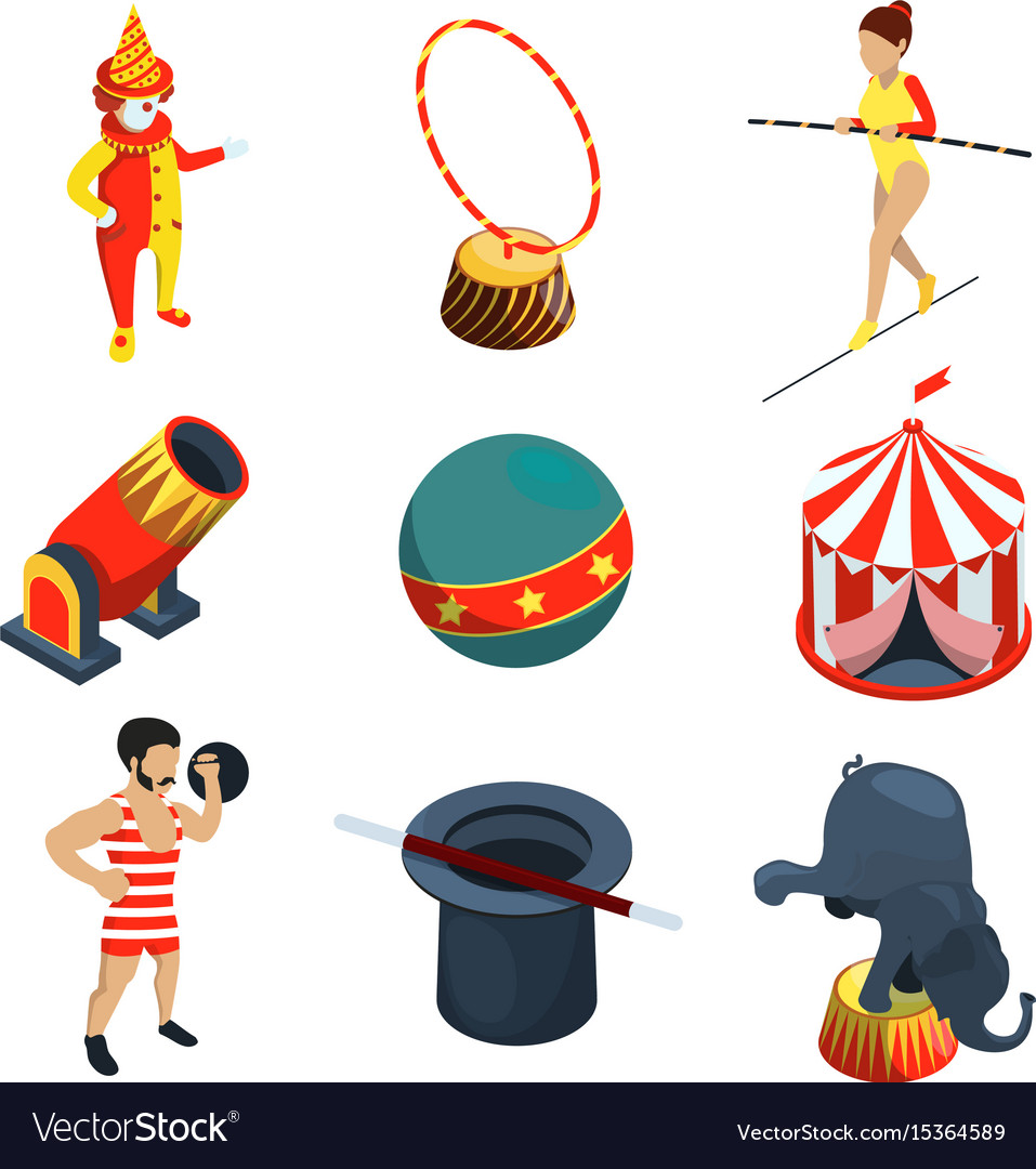 Circus icon set people animals magician show