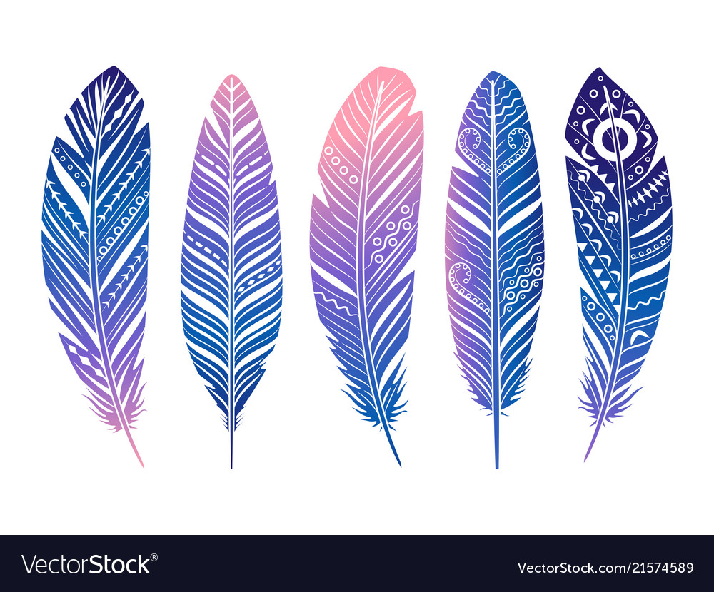 Color feathers set hand sketched tribal