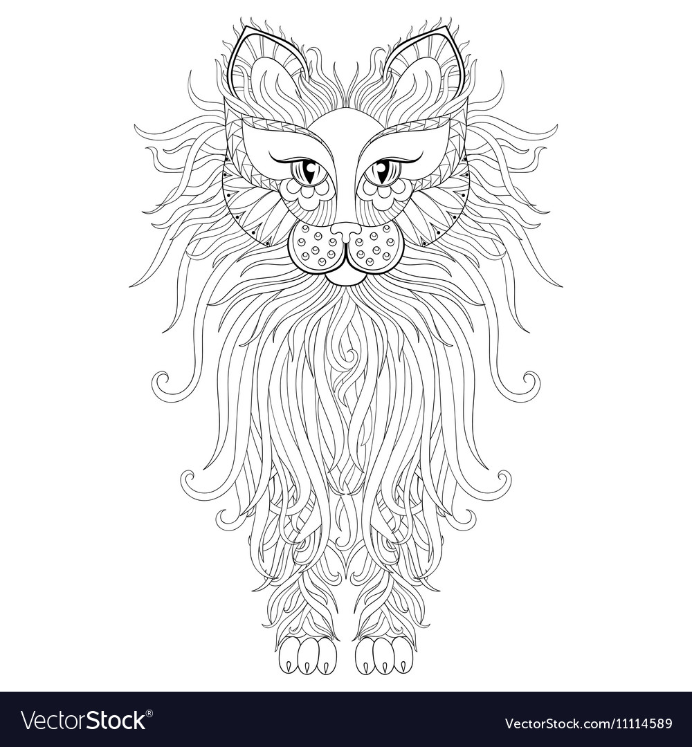 Fluffy cat in zentangle style freehand sketch