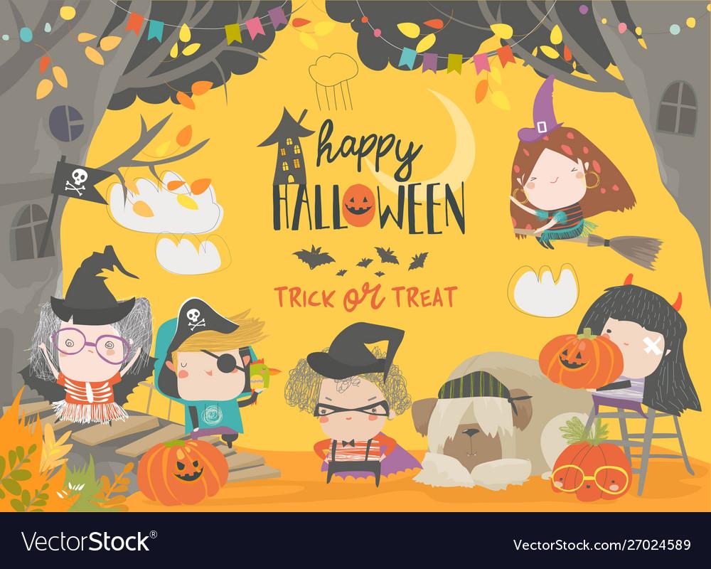 Funny children wearing in halloween costumes