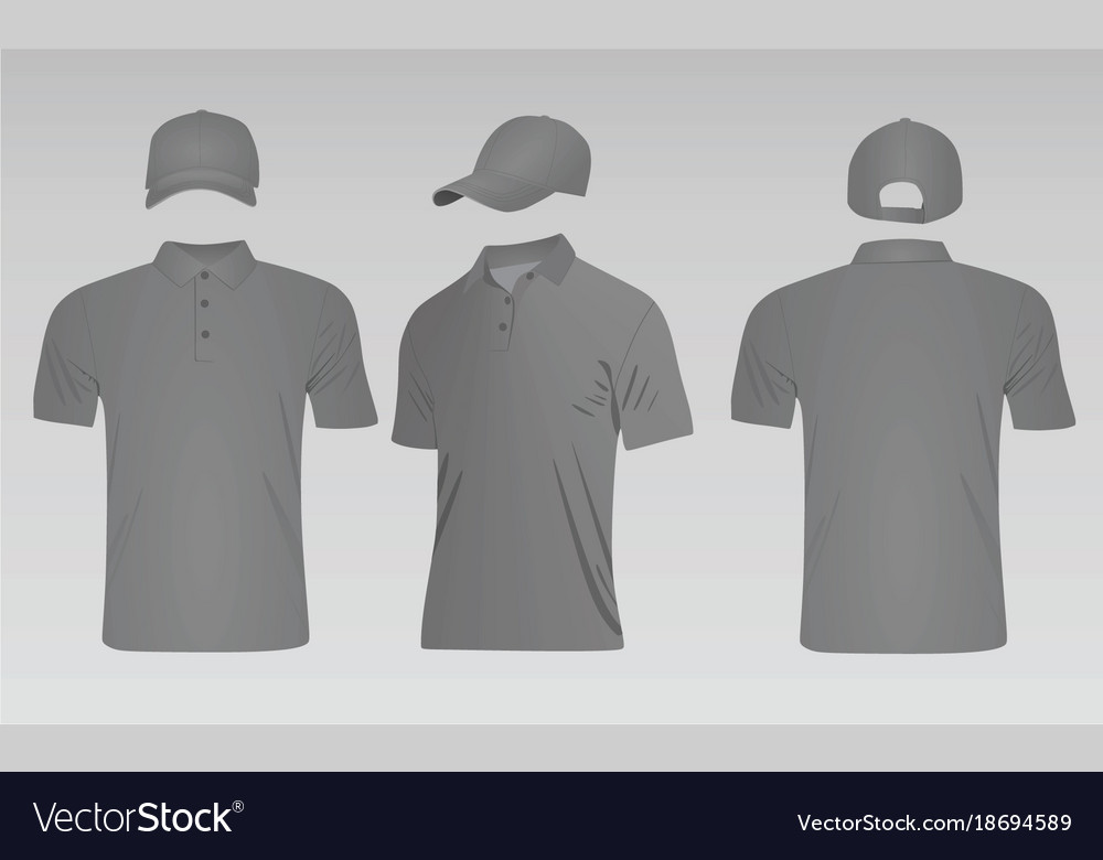 3db08b4bc Grey baseball cap and polo t shirt Royalty Free Vector Image